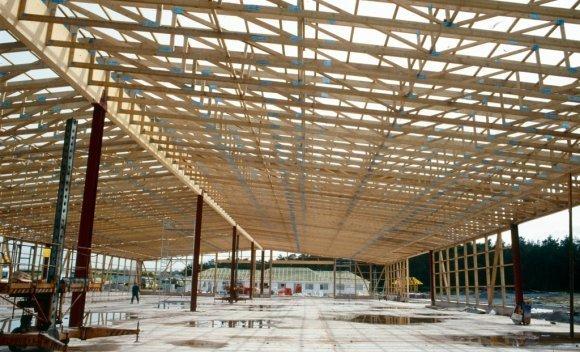 Bau einer Produktionshalle in Burg in Holzskelettbauweise 1