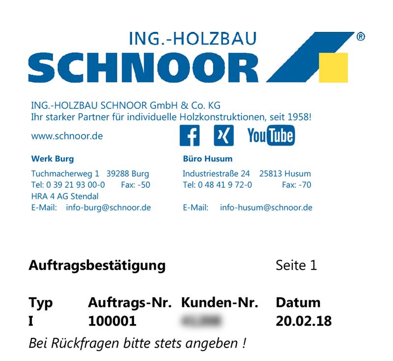 Ing.-Holzbau SCHNOOR – Auftrag 100001