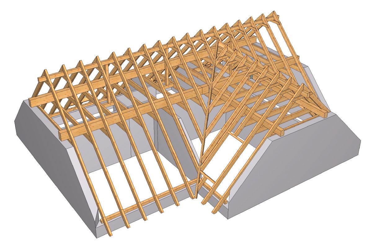 abbundkonstruktion eines dreigiebelhauses in oranienburg